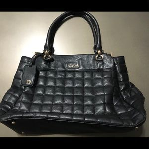 Joe's black quilted purse with gold accents